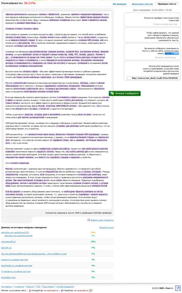 Анализ уникальности текста по text.ru