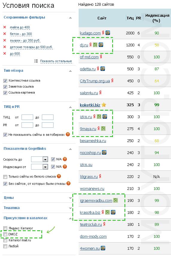 Сайты в ДМОЗ
