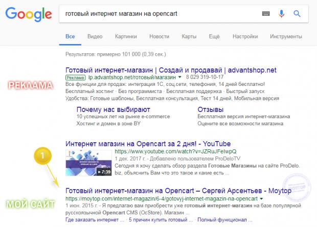 готовый магазин opencart в google